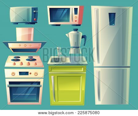 Vector Modern Kitchen Interior Objects Set. Cartoon Illustration With Cupboard Furniture, Fridge, Co
