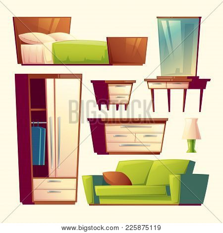 Vector Bedroom, Living Room Interior Furniture Cartoon Objects Set. Cozy Comfortable Home Elements S