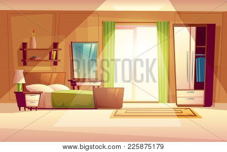 Vector Cartoon Illustration Of A Cozy Modern Bedroom, Living Room With Double Bed, Bookshelf, Cupboa