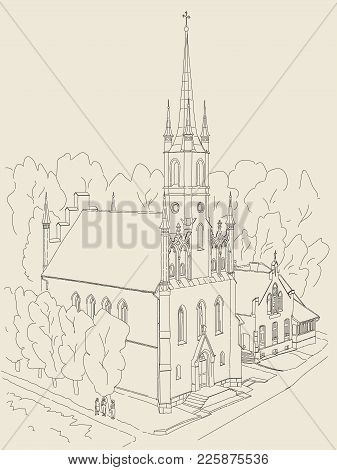 Black And White Sketch Of The Cathedral In The Gothic Style. In The Small Cozy Town In Europe.