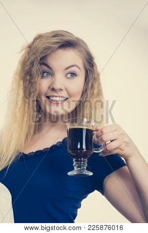 Positive Woman Holding Black Coffee About To Drink. Getting Morning Energy, Hurry Up Before Going To