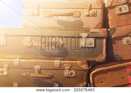 Vintage Suitcase   - Stack Of Old  Suitcases