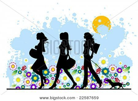 Summer, shopping girls, vector illustration