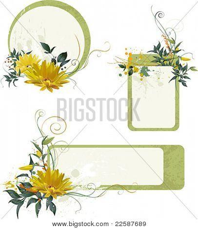 Set of grunge floral compositions for your text, vector illustration