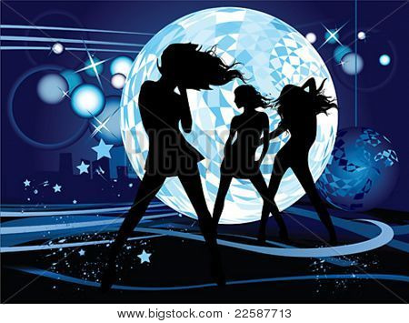 Vector illustration with dancing young women. Music concept.