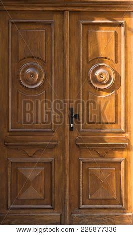 Vintage Old Retro Wooden Yellow Door Close-up