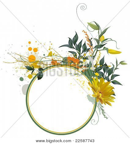 Grunge floral composition for your text, raster version of vector illustration