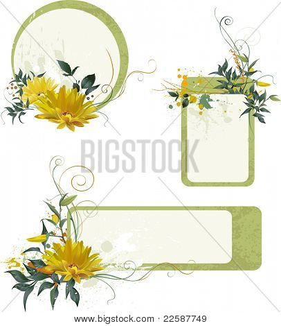 Set of grunge floral compositions for your text, raster version of vector illustration