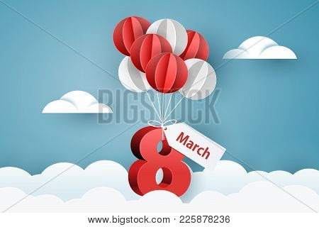 Womens Day 8 March. Balloons Carries Number Eight