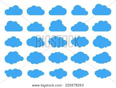 Clouds Silhouettes. Vector Set Of Clouds Shapes. Collection Of Various Forms And Contours. Design El