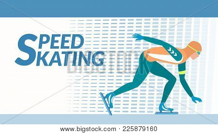 Winter Sport - Speed Skating. The Skater Moves With High Speed On The Ice Rink. Vector Illustration