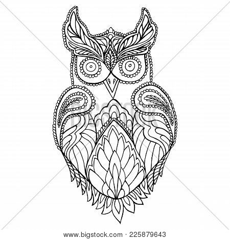 Owl Coloring Page For Children And Adults. Pattern Isolated. Cartoon Character Owl Decorative Elemen