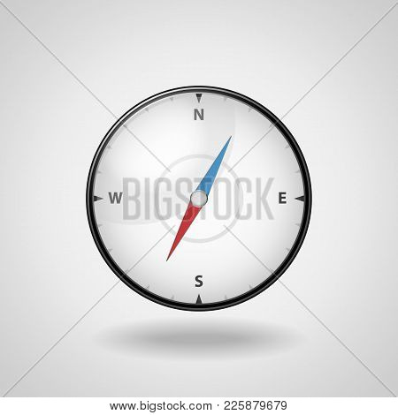 Realistic Compass On A White Background. Detailed Illustration Of A Black Compass.