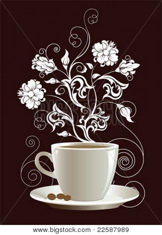 Taza de café con elementos de diseño floral. Ilustración del vector.
