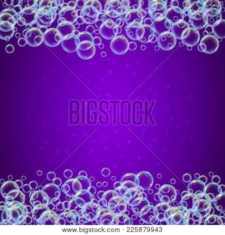 Shampoo Foam Frame With Realistic Water Bubbles On Purple Background. Cleaning Liquid Soap Foam For
