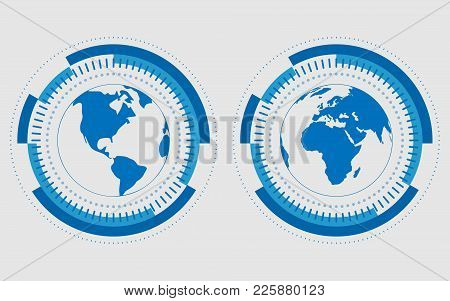 Earth Hemispheres Of Blue Color. Vector Technology Illustration. Vector Digital Globe Technology Con