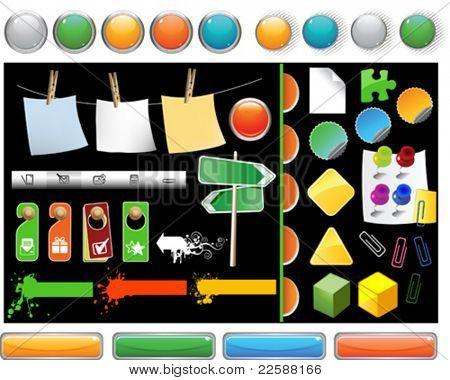 Set of website buttons, vector illustration