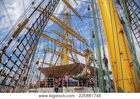 Kruzenstern Is A Four-masted Bark, A Russian Training Sailing Ship. Built In Gestemnde Near Bremerha