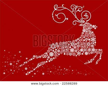 Christmas deer, vector illustration