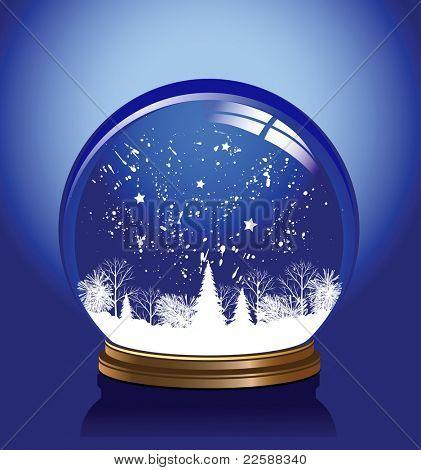 Snow globe in blue color, raster version of vector illustration