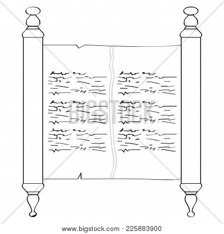 Isolated Traditional Torah Outline. Vector Illustration Design
