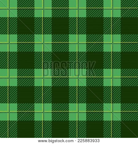 Green Lumberjack Plaid Pattern. Seamless Vector Background. Alternating Overlapping Black And Colore