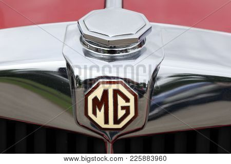 Dax, France - June 4, 2017: Mg Logo On A Car. Mg Is An English Automotive Marque Registered By The N