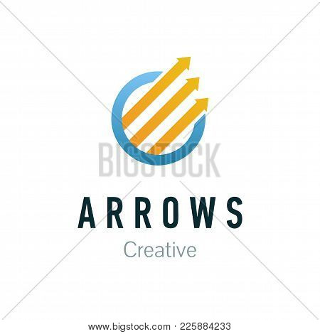 Abstract Business Company Logo. Corporate Identity Design Element. Arrow Up, Growth, Progress And Su