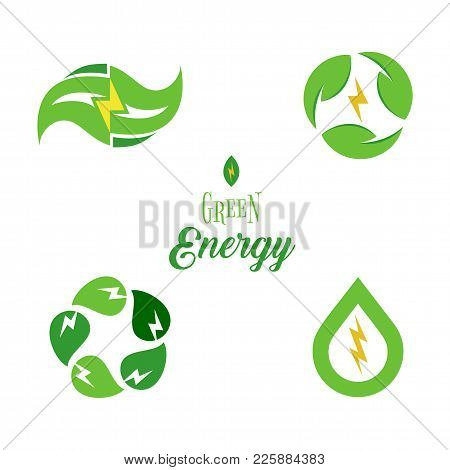 Eco Energy Symbol, Template Logo Set. Green Power Signs Collection Isolated. Abstract Electricity Ic