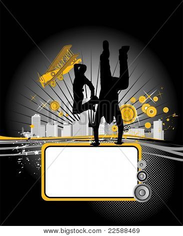 Vector illustration with dancing youth men. Music city poster