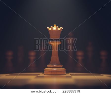 3d Illustration. The Queen In Highlight. Pieces Of Chess Game, Image With Shallow Depth Of Field.