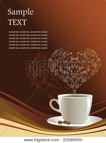 Coffee cup on a brown background with heart, vector illustration
