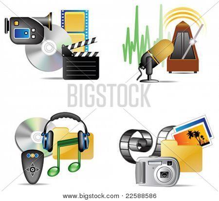Conjunto de ícone internet multimédia, ilustração vetorial