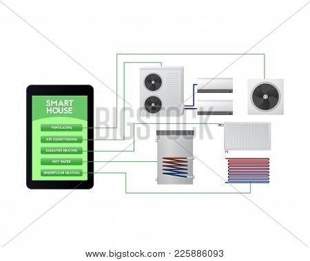Smart Home Automated. Mobile Climate Monitoring Vector Illustration. Ventilation, Air Conditioning,