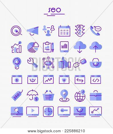 Vector Set Of Trendy Inline Bold Seo Icons