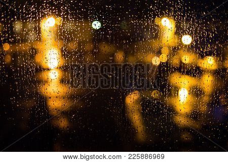Rain Drops On Window. Peaceful Evening At Home