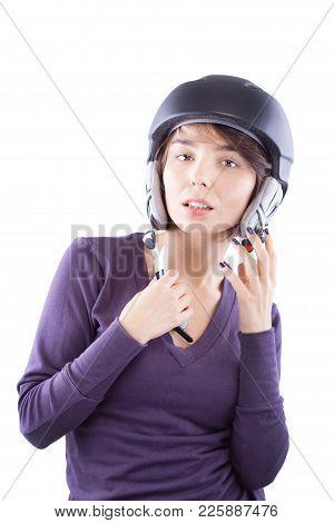 Beautiful Girl With Ski Helmet