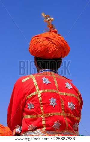 Indian Man In Traditional Clothes Taking Part In Desert Festival, Jaisalmer, Rajasthan, India