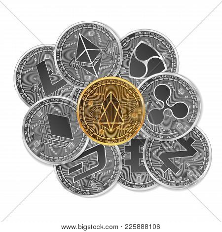 Set Of Gold And Silver Crypto Currencies With Golden Eos In Front Of Other Crypto Currencies As Lead