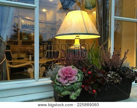 Beautiful Decoration Of The Windowsill In Europe, A Floral Arrangement With Different Types Of Plant