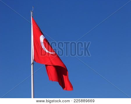 Crescent And Star Flag State Of The Blue Sky Turkey, Turkey Republic Flag Waving With The Wind, Stat
