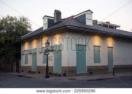 Street In New Orleans At Sunset Time