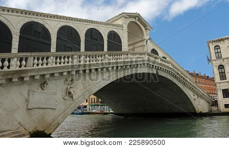Rialto Bridge In Venice Without People In Winter