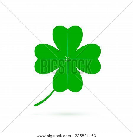 Four Leaf Clover Symbol Of Luck. Green Clover Icon Isolated On White Background. Symbol Of St Patric