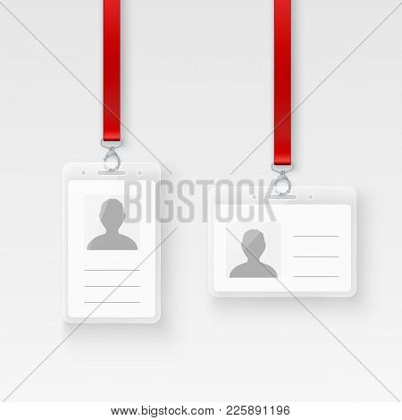 Identification Personal Plastic Id Card. Empty Id Badge Design With Clasp And Lanyard. Vector Illust