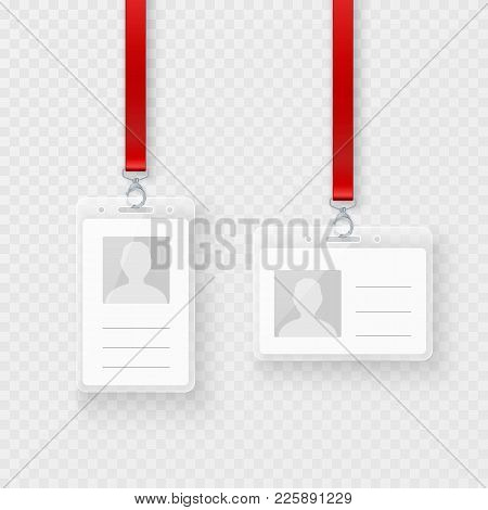 Identification Personal Blank, Plastic Id Cards Set With Clasp And Lanyard. Empty Id Plastic Card De