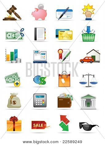 Raster version of vector illustration icons series. All elements and textures are individual objects.