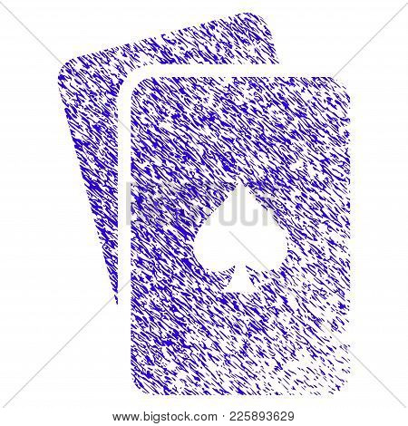 Grunge Peaks Playing Cards Rubber Seal Stamp Watermark. Icon Symbol With Grunge Design And Scratched