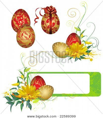 Frame with Easter eggs and flowers. All elements and textures are individual objects. Vector illustration scale to any size.