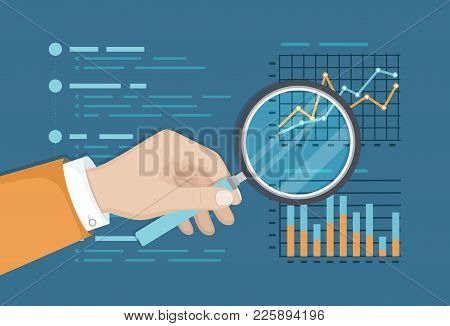 Magnifying Glass Above Finance Graphs, Paper Document, Business Report. Analysis Chart. Hand With Ma